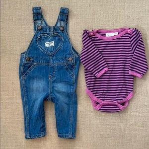 Oshkosh overalls & Jojo Maman Bebe striped onesie